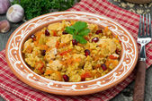 Pilaf with chicken and vegetables, close-up — Stock Photo