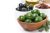 Antipasti - olives, pickles, olive oil, fresh rosemary — Stock Photo