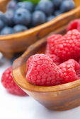 Fresh raspberries close-up and blueberries in a wooden bowls — Stock Photo