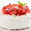 Delicious cake with whipped cream and fresh strawberries — Stock Photo