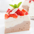 Piece of cake with whipped cream and strawberries, close-up — Stock Photo #48106783