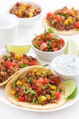 Mexican snack - tortilla with chili con carne, tomato salsa — Stock Photo