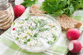 Cold soup with fresh vegetables and kefir (okroshka), horizontal — Stock Photo
