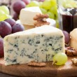 Assorted snacks and red wine, blue cheese, cheddar, camembert — Stock Photo #48930851