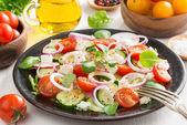 Greek salad with feta cheese — Stock Photo