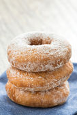 Donuts with powdered sugar, close-up — Stock Photo