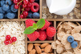 Foods for breakfast - oatmeal, granola, nuts, berries and milk — Stock Photo