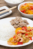 White rice, chicken and vegetables with shrimp, vertical — Stock Photo