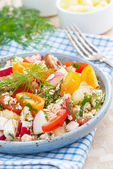 Dietetic food - fresh salad with vegetables and cottage cheese — Stock Photo