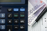 Tax euro calculator — Stock Photo