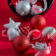 Stock Photo: Red and silver Christmas ornaments
