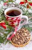 Christmas cookies with hot drink — Stok fotoğraf