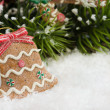 Christmas bell decoration in the shape of Gingerbread cookie — Stock Photo #17072011