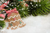 Christmas bell decoration in the shape of Gingerbread cookie — Stock Photo