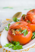 Baked tomatoes stuffed with tuna and vegetables — Stock Photo