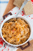 Spicy stewed cabbage with mushrooms — Stock Photo