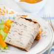 Chicken galantine stuffed with pancakes — Stock Photo