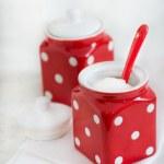 Two red ceramic storage jars — Stock Photo