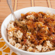 Rice with lentils and caramelized onions - Stock Photo