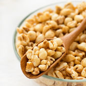 Puffed wheat cereal for breakfast — Stock Photo