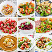 Collage of healthy salads — Stock Photo
