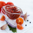Traditional homemade tomato sauce with ingredients — Stock Photo