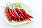 Red chili peppers on plate over light background — Stock Photo