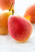 Fresh red pears over light background — Stock Photo