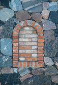 Arched brick window — Stock Photo