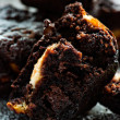 Chocolate muffin over dark background — Stock Photo #35203589
