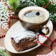 Chocolate pie and cup of coffee — Stockfoto