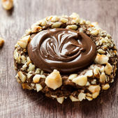 Chocolate filled cookies with hazelnuts — Stock Photo