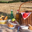 Stock Photo: Picnic basket wit food and drinks on field