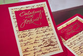 Selfmade wedding invitation cards — Stock Photo