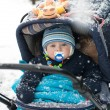Baby boy in pram during winter snow fall — Stock Photo #13289806