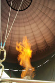Burners blowing flames and heat into air balloon — Stock Photo