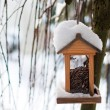 Wooden birdhouse covered with snow — Stock Photo