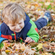 Little toddler boy in autumn park - Stock Photo