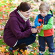Little toddler boy and young mother in the autumn park — Stock Photo