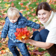 Royalty-Free Stock Photo: Little toddler boy and young mother in the autumn park