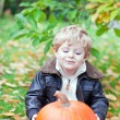 Little toddler with big orange pumpkin in garden — Stock Photo