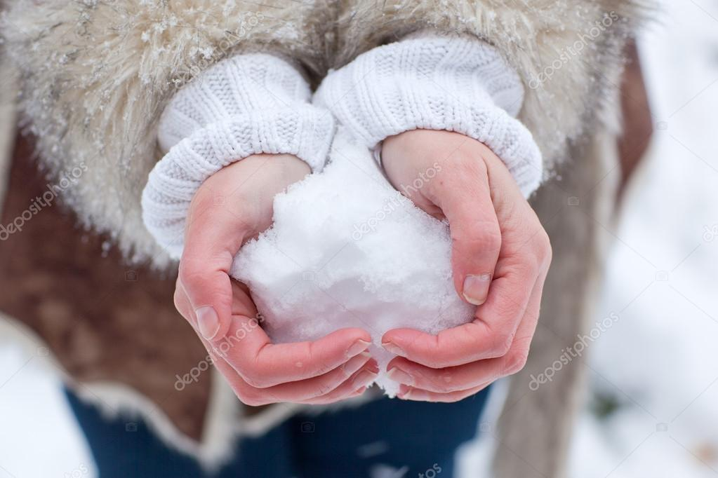 Hands of woman with snow heart in winter  Stock Photo #14047662