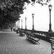 New York seafront on foggy day — Stockfoto