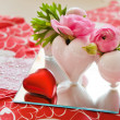 Detail of table setting in red decorated for Valentin - Stock Photo