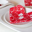 Detail of table setting in red decorated for Valentin — 图库照片
