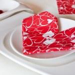 详细信息表中的设置红色装饰的瓦伦丁 — 图库照片