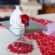 Detail of table setting in red decorated for Valentin — Stock Photo #14649383