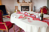 Table setting in red decorated for Valentin — Stock Photo