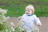 金发碧眼的毛发可爱蹒跚学步的小男孩 — 图库照片