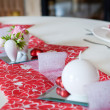 Table setting in red decorated for Valentin - Stock Photo